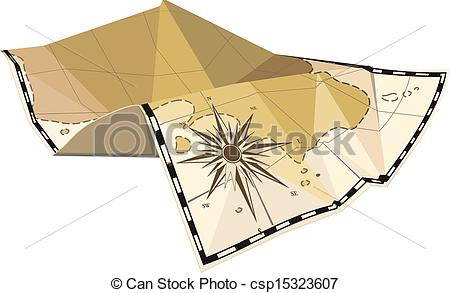 Vector Clipart of folded map with wind rose.