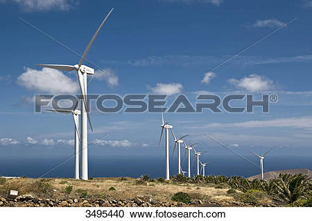 Stock Photography of Wind park Eolico, Lanzarote, Canary Islands.
