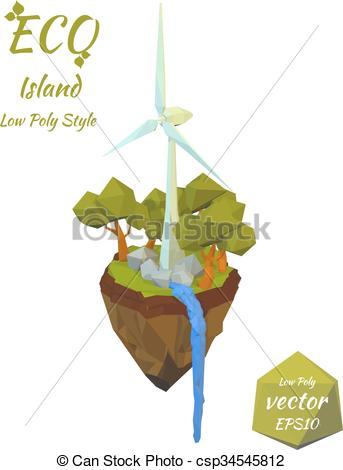Vector Clip Art of Island falling river and wind turbines isolated.