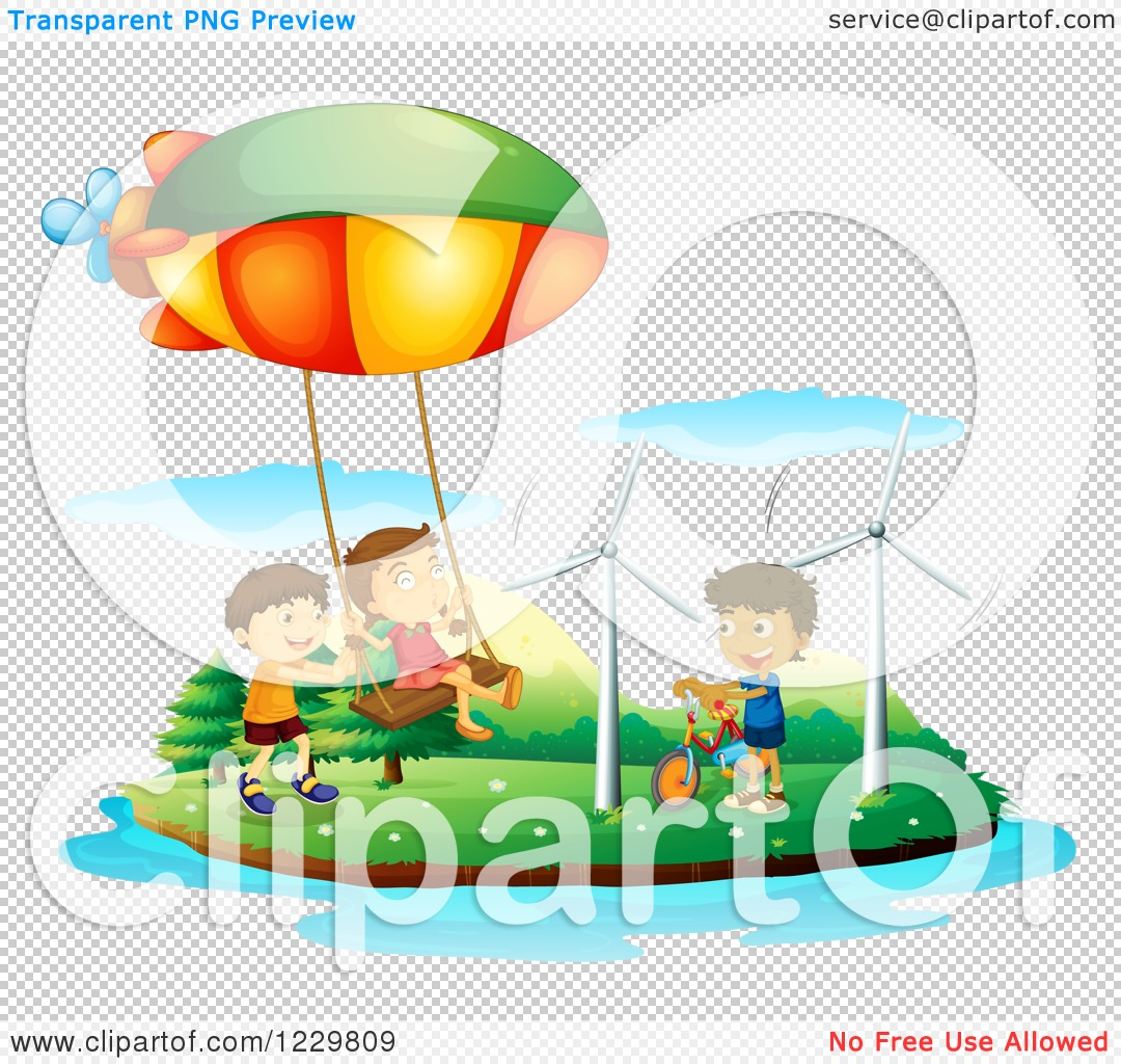 Clipart of a Girl Swinging from a Blimp and Boy with Bike on an.