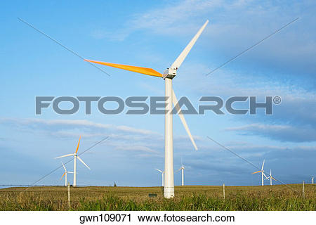 Stock Photography of Wind turbines in a field, Pakini Nui Wind.