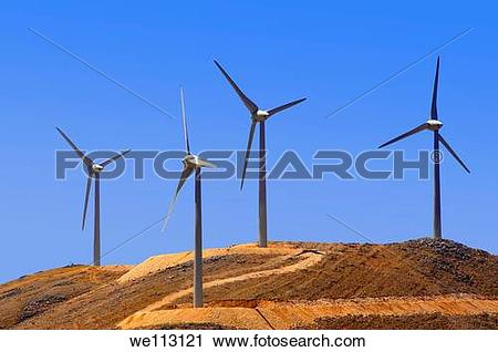 Stock Photography of Wind farm on Kefalonia, Ionian Islands.