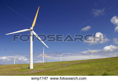 Picture of Wind powered electric generators on the North coast of.