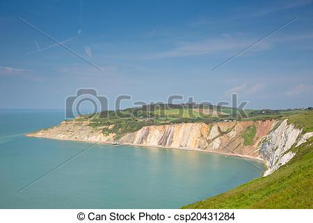 Películas de alum, Wight, litoral, Isla, bahía.