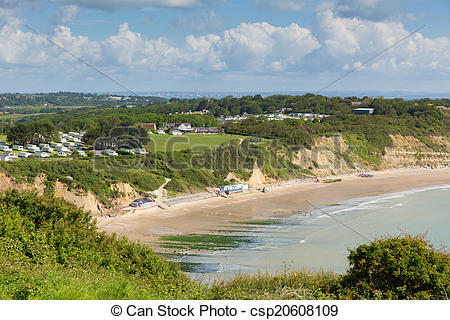 Stock de Fotografía de whitecliff, Wight, playa, Isla, bahía.