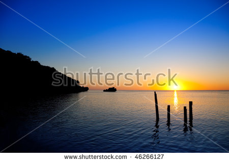 Beautiful Sunset In Roatan, Islas De La Bahia, Honduras Stock.