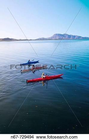 Stock Photo of Sea kayaking, Bahia Amortajada, Isla San Jose, Sea.