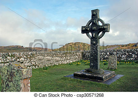 Stock Image of Kildalton Cross, Islay, Scotland..
