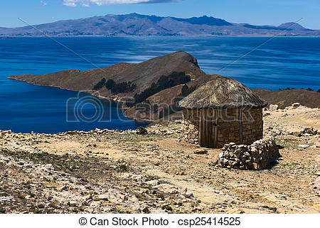 Stock Photo of Small Hut on Isla del Sol in Lake Titicaca, Bolivia.