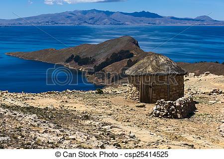 Stock Photo of Small Hut on Isla del Sol in Lake Titicaca, Bolivia.