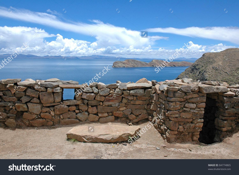 Chincana Ruins, Isla Del Sol, Lake Titicaca, Bolivia Stock Photo.