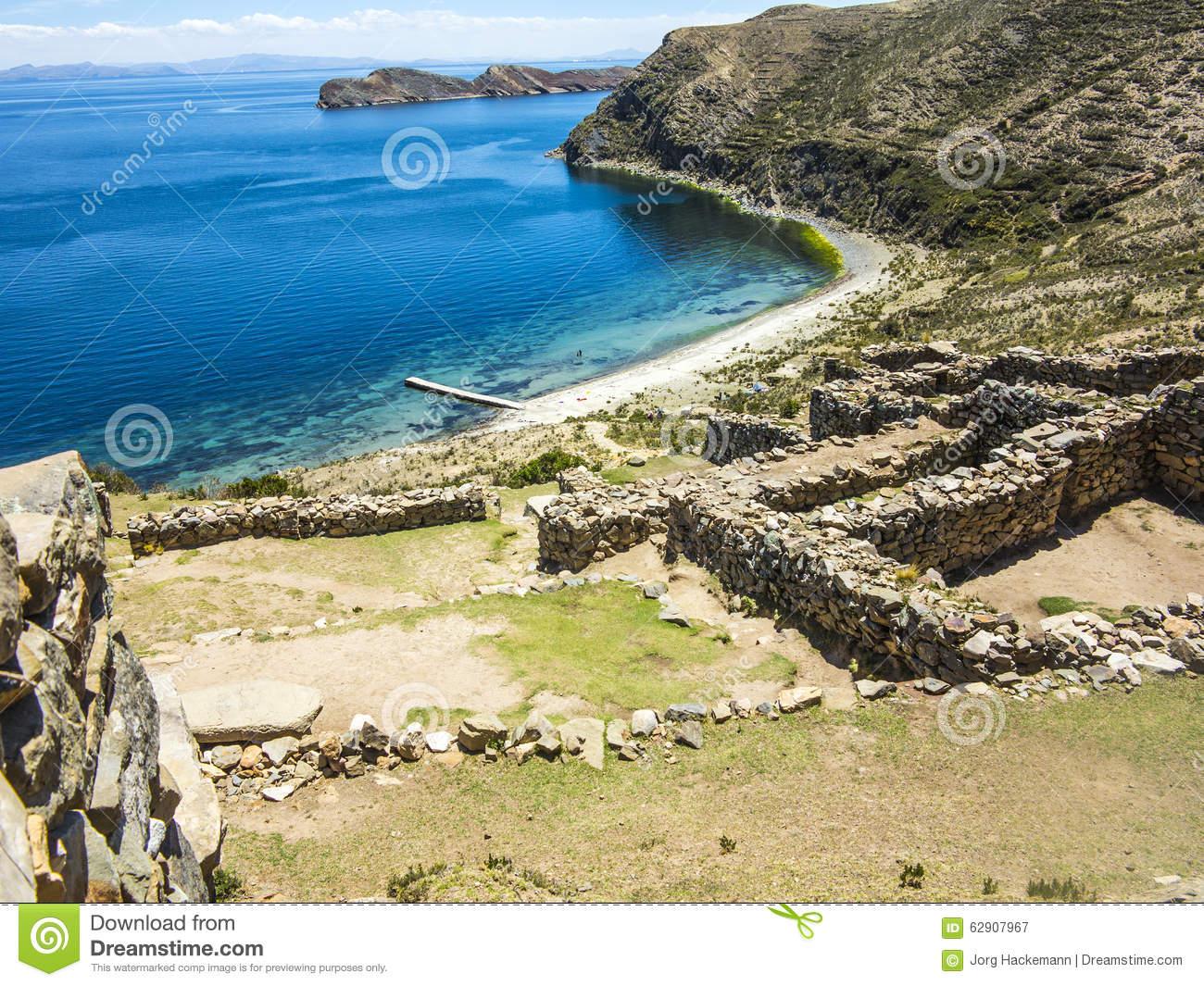 Inca Ruins Of Isla Del Sol, Bolivia Stock Photo.