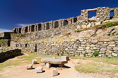 Ruins Of Chinkana On Isla Del Sol On Lake Titicaca, Bolivia Stock.