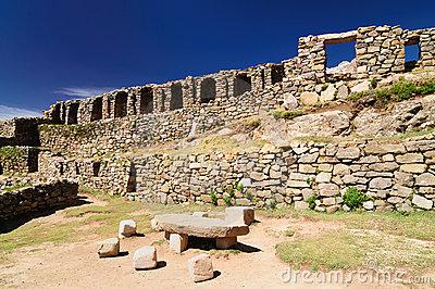 Ruins Of Chinkana On Isla Del Sol On Lake Titicaca, Bolivia Stock.