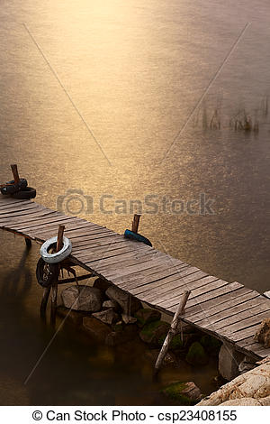 Stock Images of Jetty Lit by the Moonlight on Isla del Sol in Lake.
