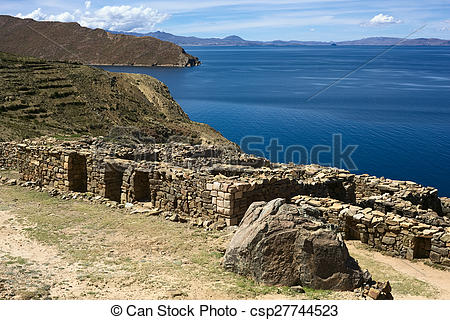 Stock Photo of Chinkana Ruins on Isla del Sol (Island of the Sun.