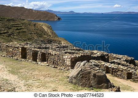 Stock Photo of Chinkana Ruins on Isla del Sol (Island of the Sun.
