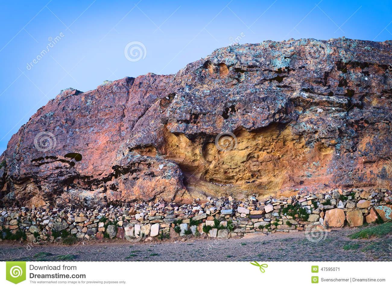 Rock Of The Puma On Isla Del Sol In Lake Titicaca, Bolivia Stock.