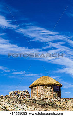 Stock Photo of Isla del Sol on the Titicaca lake, Bolivia.