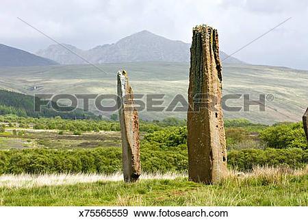 Stock Photograph of Machrie Moor Standing Stones. Isle of Arran.