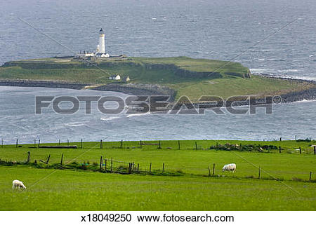 Stock Photography of Pladda Lighthouse Isle of Arran Scotland.