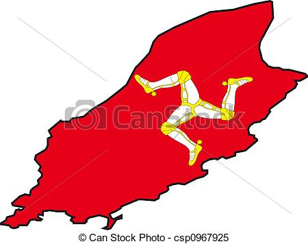Stock Illustrations of Map Isle of Man.
