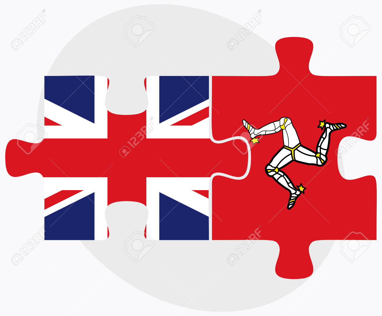 United Kingdom And Isle Of Man Flags In Puzzle Isolated On White.