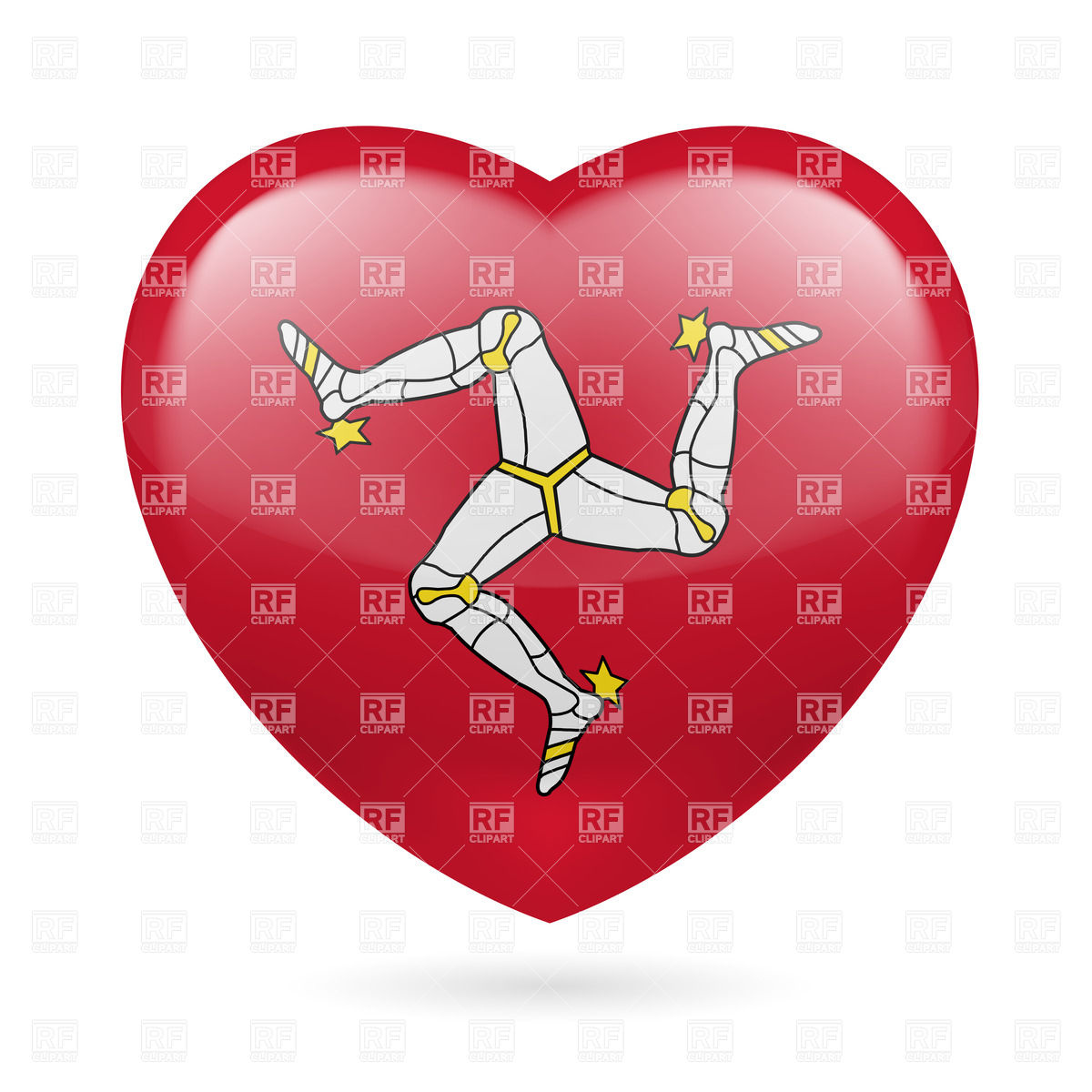 I love Isle of Man. Heart with flag colors Vector Image #31831.