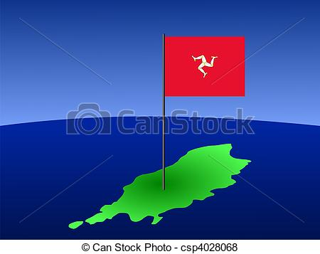 Stock Illustration of map of isle of man with flag.