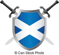 Vector Clip Art of Scotland Flag with Isle of Skye sign.