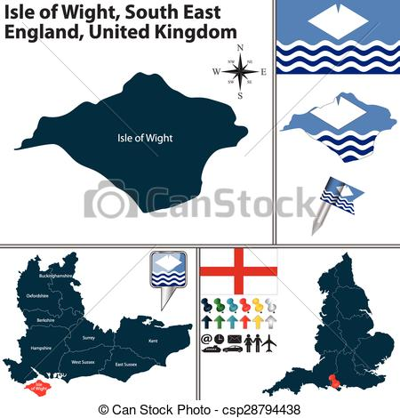 Vectors of Isle of Wight, South East England, UK.