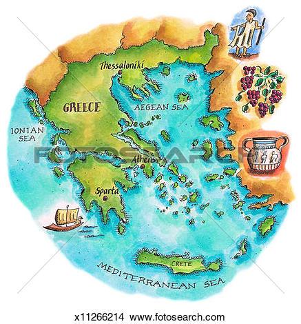 Drawings of Map of Greece & Greek Isles x11266214.