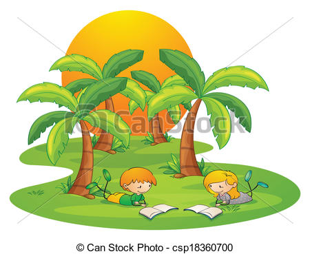 Vector Clipart of Two kids in the island reading near the coconut.