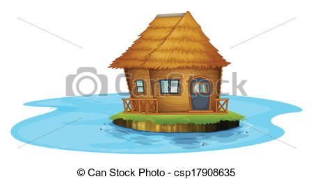 Vector Illustration of An island with a nipa hut.
