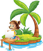 Clipart of Two kids in the island reading near the coconut trees.
