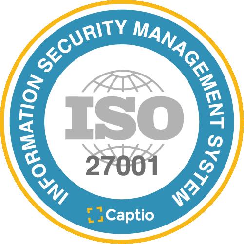 Captio certified under security standard ISO/IEC 27001.