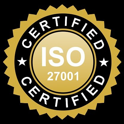 ISO certified gold emblem Clipart Image.