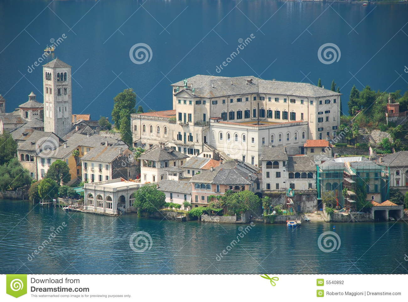 Lake Orta, Italy. Isola Di San Giulio Stock Photography.