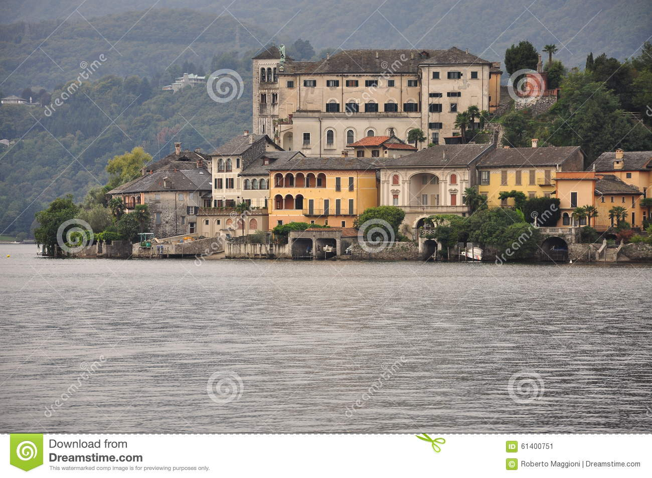 Lake Orta, San Giulio Island, Italy Stock Photo.