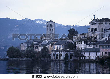 Stock Photography of Monastery at lakeside, Lake Orta, Orta San.