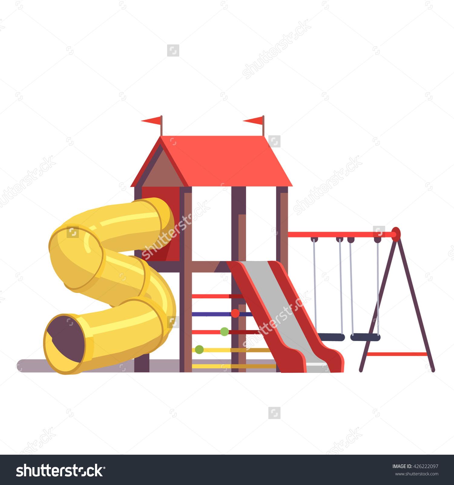 Kids Playground Equipment Swings Slides Tube Stock Vector.