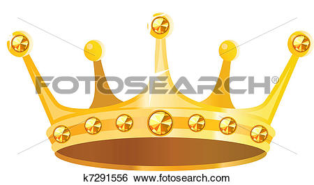 Clip Art of Gold crown with gems isolated on white background.