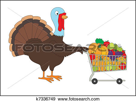Clip Art of Thanksgiving fat turkey with shopping cart full of.
