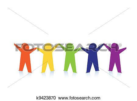 Clipart of Abstract colorful paper people isolated on white.