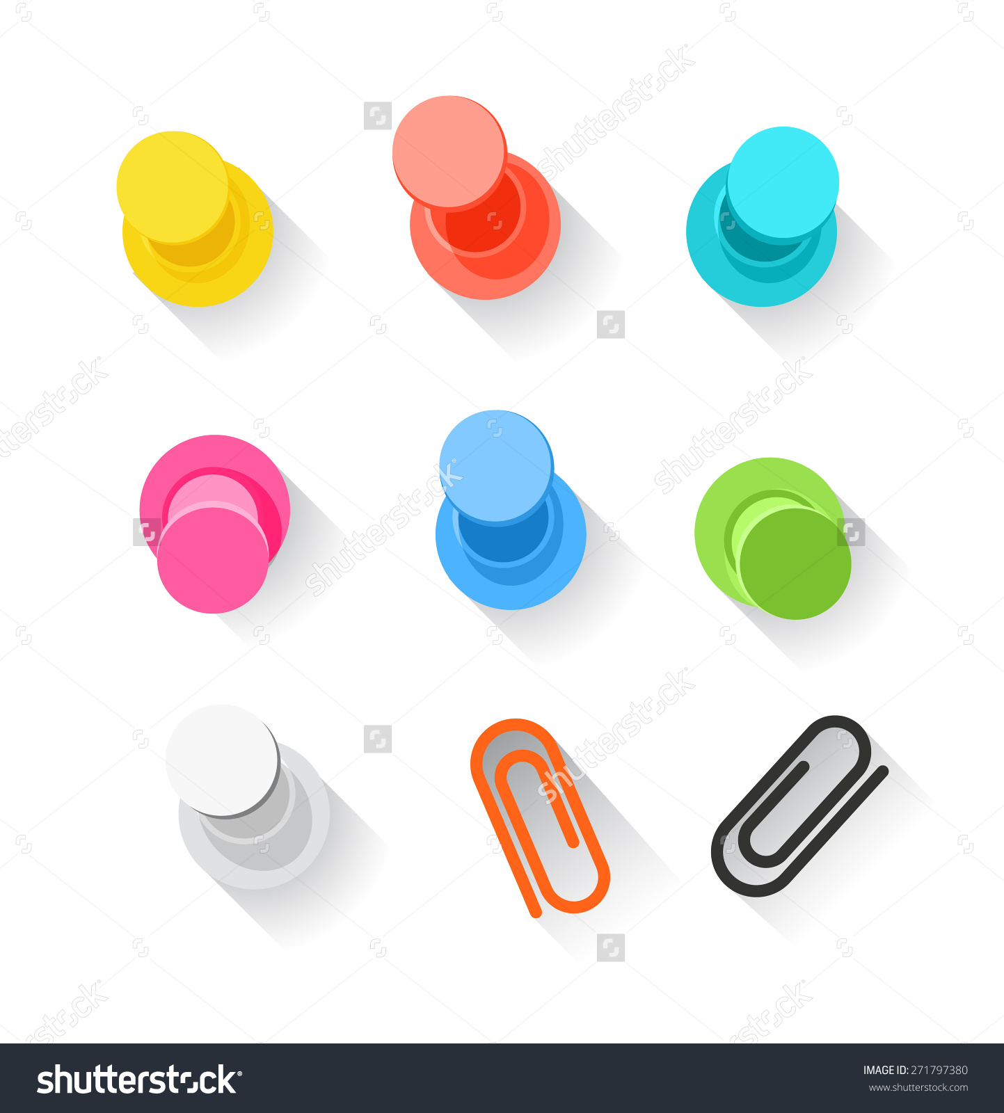 Color Pins And Clips Collection Isolated On White. Flat Design.
