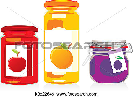 Clipart of isolated jam jars set k3522645.
