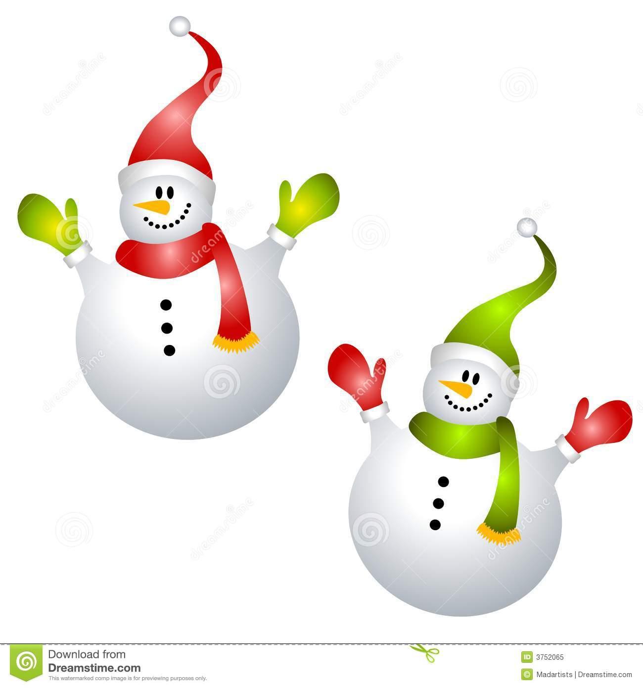 Smiling Snowmen Clip Art Isolated Royalty Free Stock Photo.