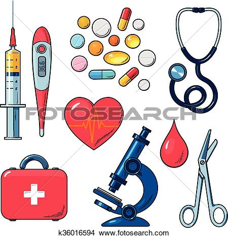 Clipart of Set of medical icons isolated, color sketch k36016594.