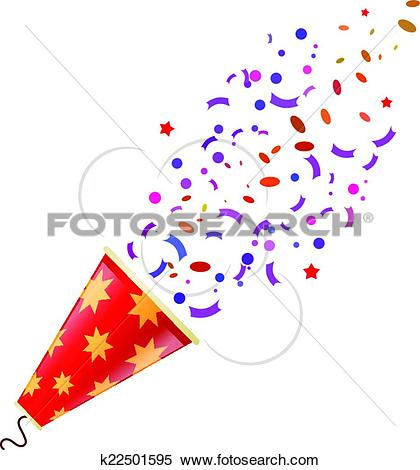 Clipart of Exploding color poppers with confetti isolated on white.