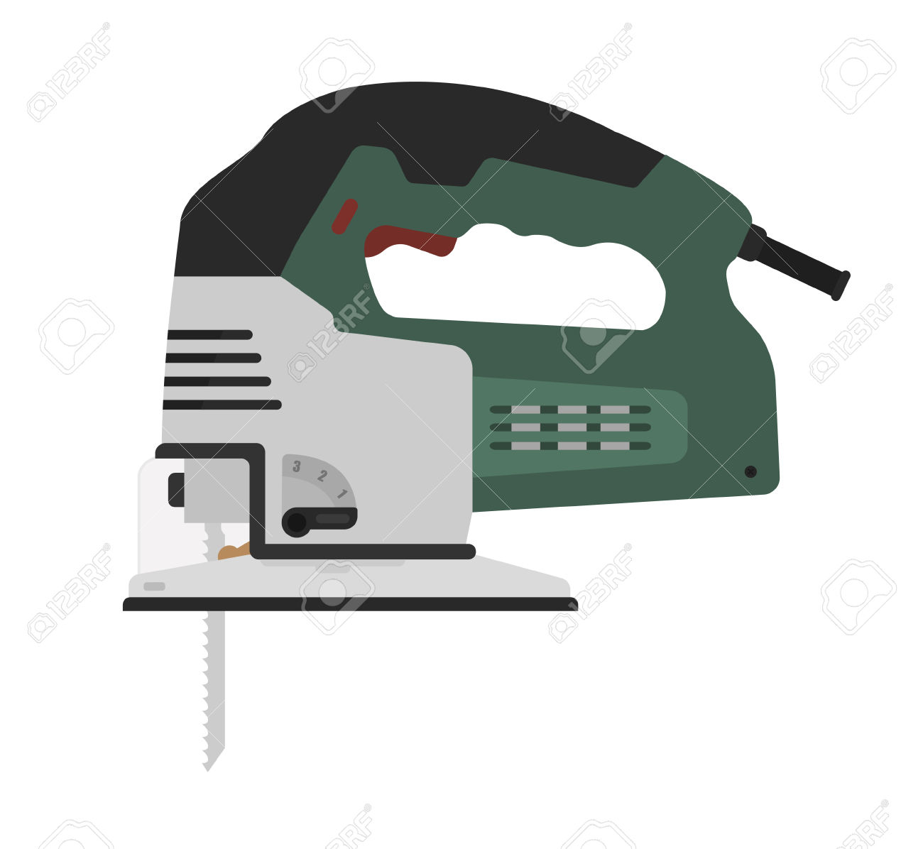 Electric Green Color Carpentry Jig Saw Tool. Vector Clip Art.